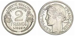 nettoyage monnaie 2 francs aluminium